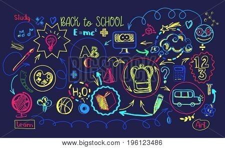 Education scheme infographic. Vector illustration of school supplies and subjects interaction. Back to school banner with study process scheme. Modern Vibrant colors.