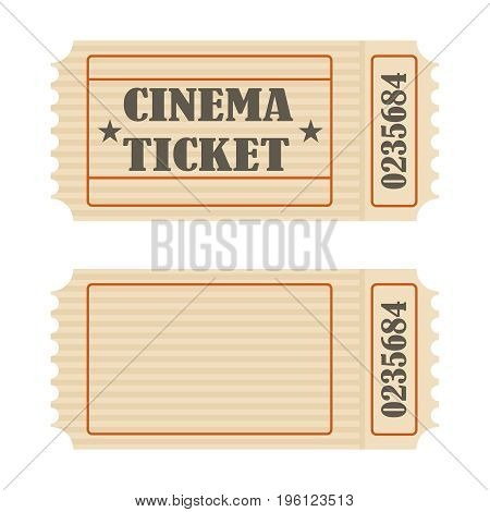 Retro movie ticket icon retro movie ticket. Flat design vector illustration vector.