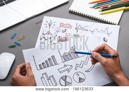 Business concept. Businessman writing idea sketch. Business starup plan.
