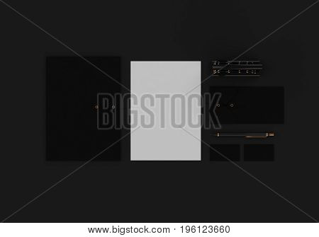 Base black and gold stationery mock-up template for branding identity on dark background for graphic designers presentations and portfolios. 3D rendering.