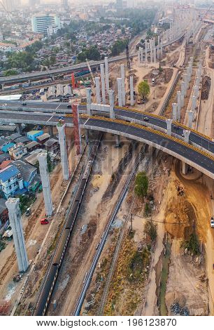 Freight and passenger train waiting at the train station parking lot.Cargo transit.import export and business logistic.Aerial view.Top view.Railway construction