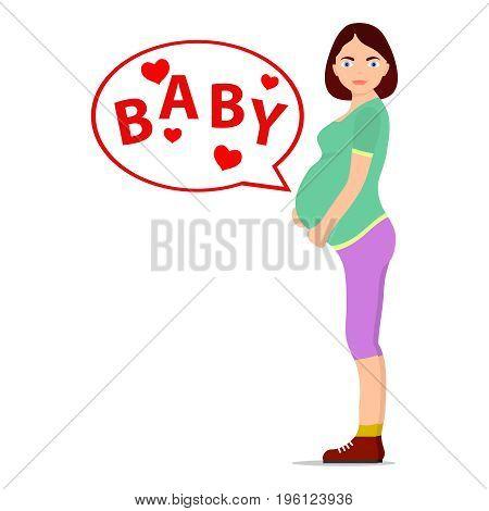 Pregnant girl icon of a pregnant girl baby. Flat design vector illustration vector.