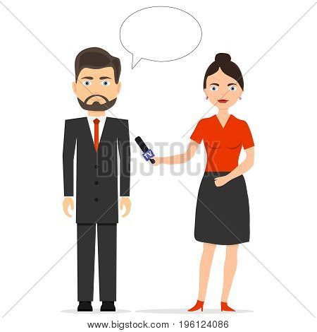 The journalist is interviewing. The girl is a journalist. Flat design vector illustration vector.