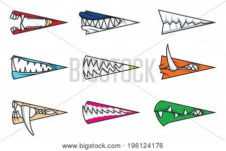 Angry monster mouths cartoon set. Monster mouths with teeth vector illustration