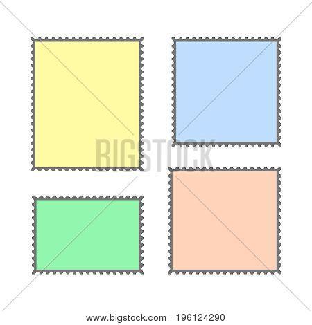 Blank Postage Stamps Set on Dark Background   vector