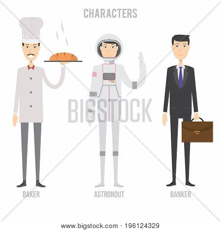 Character Set include baker, astronout and banker | set of vector character illustration use for human, profession, business, marketing and much more.The set can be used for several purposes like: websites, print templates, presentation templates, and pro