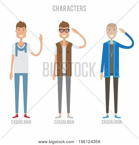 Character Set include casualman   set of vector character illustration use for human, profession, business, marketing and much more.The set can be used for several purposes like: websites, print templates, presentation templates, and promotional materials