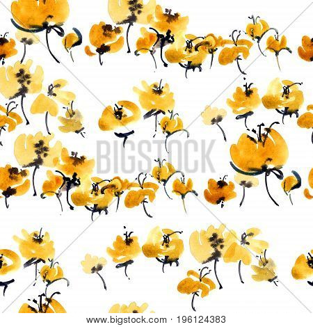 Watercolor and ink illustration of yellow flowers. Sumi-e u-sin painting. Seamless pattern.