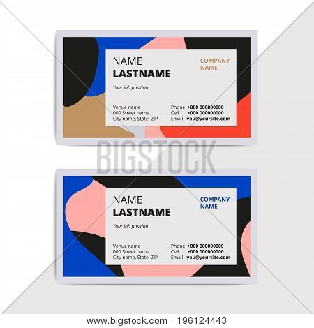 Trendy Elegant Business Card Templates. Modern Luxury Beauty Salon Or Cosmetic Shop Layout With Geom