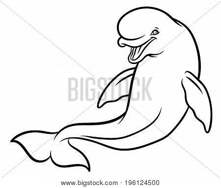 Happy smiling Beluga Whale cartoon - vector hand drawing illustration