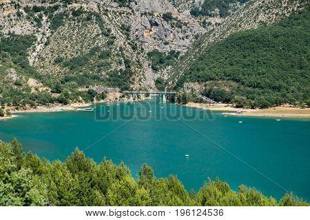 Lac (lake) De Sainte-croix  (sainte-croix-du-verdon) And Grand Canyon Du Verdon, Provence, France