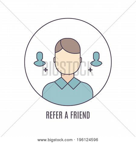 Vector Refer a friend icon in flat linear style. Great infographic element