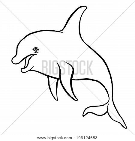 Dolphin doodle sketch  -  hand drawing vector paint