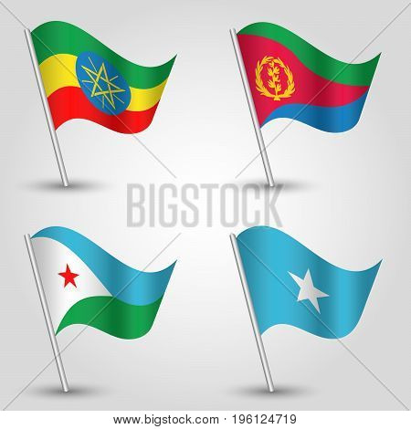 vector set of waving flags east africa horn on silver pole - icon of states ethiopia eritrea djibouti and somalia