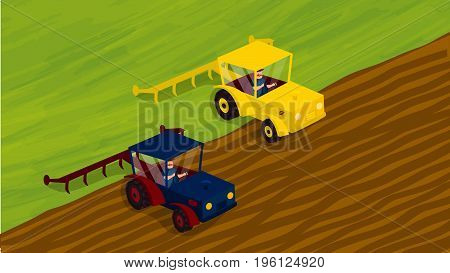 Agriculture and Farming. Agrotourism. Agribusiness. Rural landscape. Design elements for info graphic websites and print media. Vector illustrations