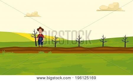 A Farmer in the field. Agriculture and Farming. Agrotourism. Agribusiness. Rural landscape. Design elements for info graphic websites and print media. Vector illustration