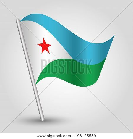 vector waving simple triangle djiboutian flag on slanted silver pole - icon of djibouti with metal stick