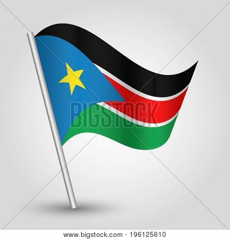 vector waving simple triangle sudanese flag on slanted silver pole - icon of south sudan with metal stick