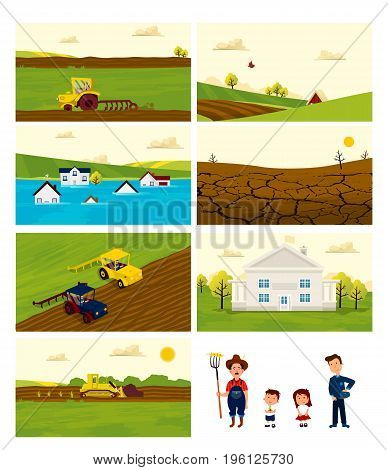 Collection of Agriculture and Farming set backgrounds. Agribusiness. Rural landscape. Design elements for info graphic, websites and print media. Vector illustration