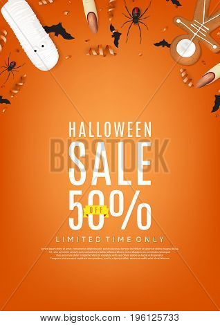 Halloween sale orange poster. Top view on paper bats, confetti and spiders. Special seasonal offer. Vector illustration with cookies in form of skeleton gingerbread man.