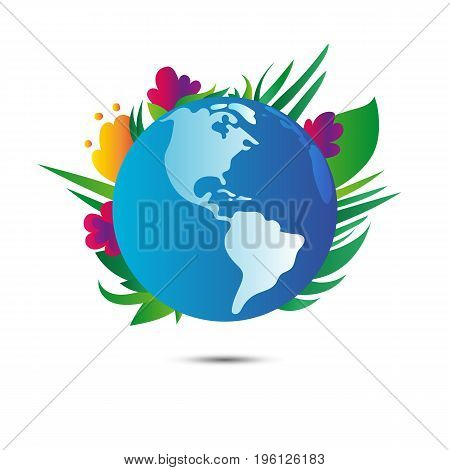 Earth planet with flowers on white background. Earth day. Vector