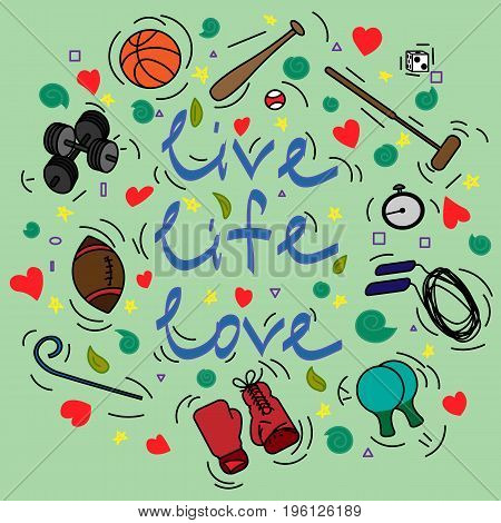 Postcard with text Live Life Love and attributes for sport on a turquoise background