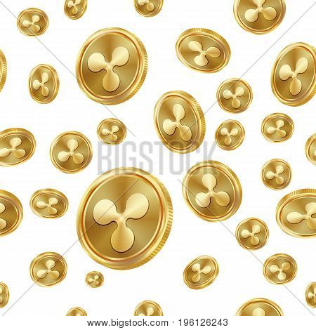 Ripple Seamless Pattern Vector. Gold Coins. Digital Currency. Fintech Blockchain. Isolated Background