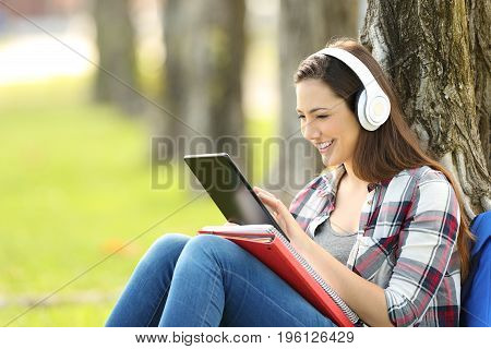 Single student studying listening on line lessons sitting on the grass in a park with a green background