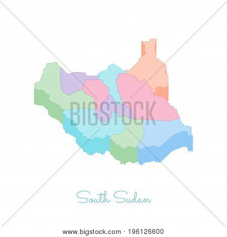 South Sudan Region Map: Colorful Isometric Top View. Detailed Map Of South Sudan Regions. Vector Ill
