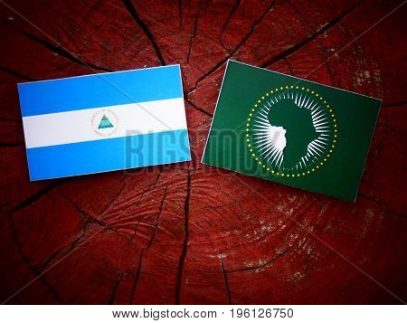 Nicaraguan Flag With African Union Flag On A Tree Stump Isolated