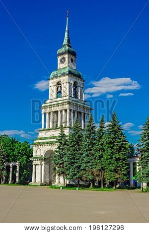 City square with bell tower. Slobodskoy. Russia