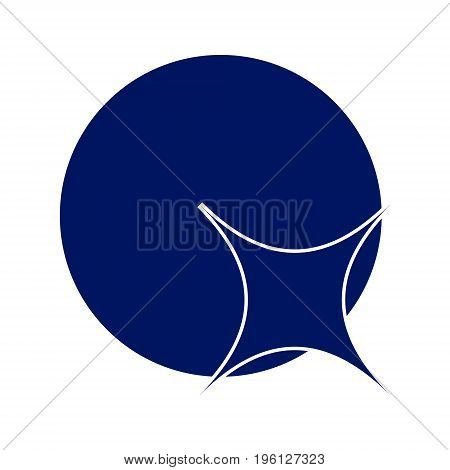 Logo four-pointed star on the ball. Emblem of simple forms. vector illustration