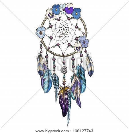 Hand drawn ornate Dreamcatcher with blue and purple wild flowers Astrology spirituality symbol. Ethnic tribal element.