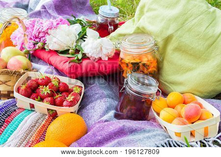 Picnic in the outdoor with strawberry apricots oranges apples and different cold beverages