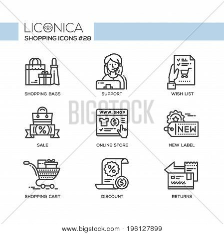 Shopping - modern vector flat line design icons set. Bag, sale, discount, online store, new label, cart, support, customer service, wish list, return, money. Have a useful purchase, buy things smart.