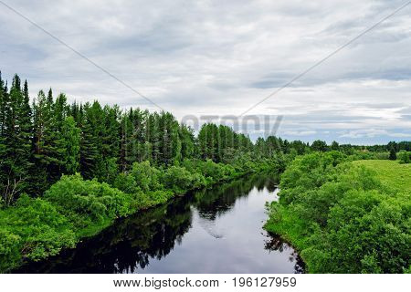 View of a small river on a summer day