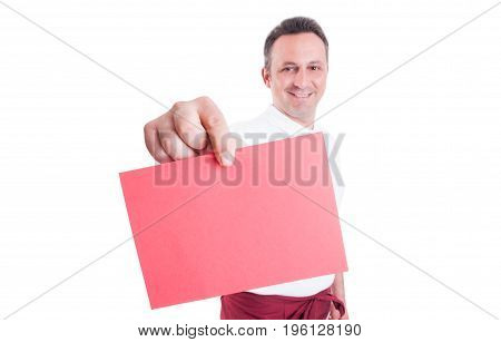 Young Successful Employee With Blank Paper In Hand