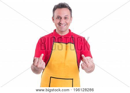 Handsome Young Employee Show Hands With Middle Fingers