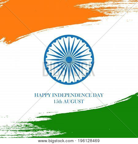 India Happy Independence Day celebration card with brush stroke background. Vector illustration.