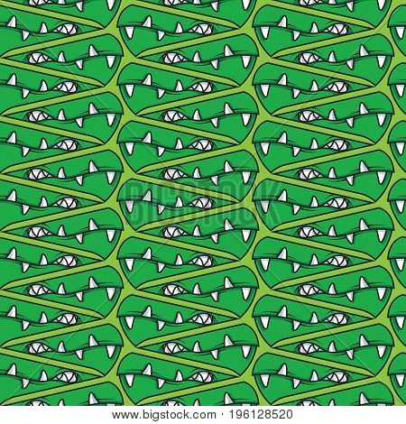 abstract monster teeth vector pattern on green background