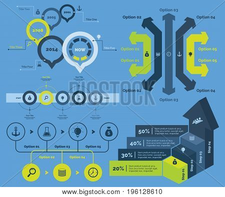 Infographic design set can be used for workflow layout, diagram, annual report, presentation, web design. Business and finance concept with process and bar charts.