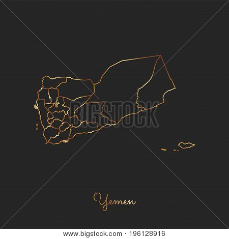 Yemen Region Map: Golden Gradient Outline On Dark Background. Detailed Map Of Yemen Regions. Vector