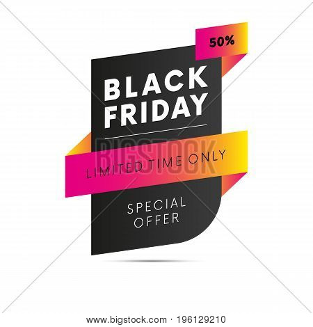 Black Friday. Special offer. Fifty percent off. Limited time only. Vector