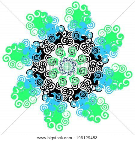 Mandala with twists. Circular pattern. Vector illustration