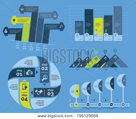 Infographic design set can be used for workflow layout, diagram, annual report, presentation, web design. Business and planning concept with process and bar charts.