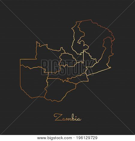 Zambia Region Map: Golden Gradient Outline On Dark Background. Detailed Map Of Zambia Regions. Vecto