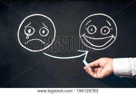 Customer Satisfaction Concept With Sad And Happy Face Sketchs On Blackboard