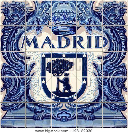Madrid Spanish ceramic tiles Spain symbol vector lapis blue illustration