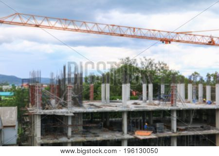blur construction laborer team working and crane on high ground building housing in site workplace