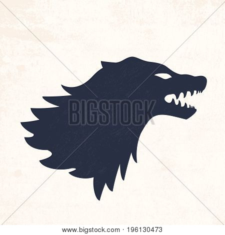 Wolf head. Vector illustrations. Abstract background with grunge texture
